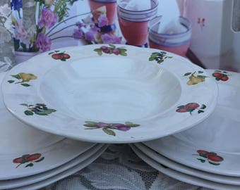 Gibson Springtime Soup/Salad Flat Bowls- Vintage Gibson Plums and Pears Bowls/Plates- Set of 7