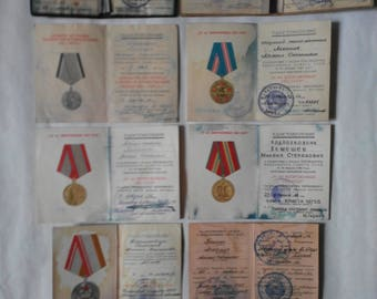 Documents for the medals of the Soviet officer and identity cards USSR 1958-1997