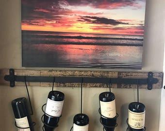 Rustic Wine Rack on reclaimed wood
