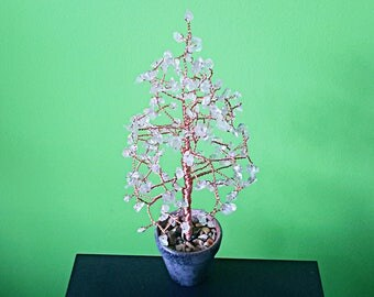 Clear quartz crystal tree, gemstone tree, gem tree, feng shui tree, bonsai tree, wire tree, tree sculpture, wealth tree, tree of life