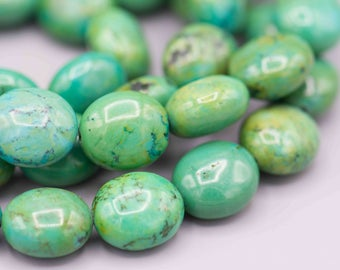 Natural Turquoise Oval Gemstone Beads - 15x13x8mm organic stone beads SKU-TUR-1