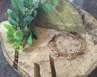 Copper twist and bead bangle