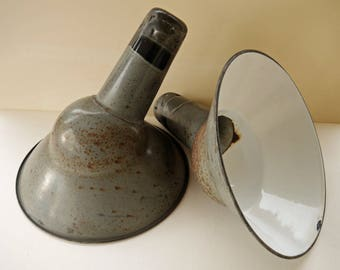 Vintage French Parabolic Enamel Lamp Shades. Retro Grey Enamel Lights Shades.