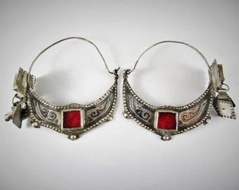 Antique Ida ou nadif berber earrings - Silver and niello earrings - Berber jewelry