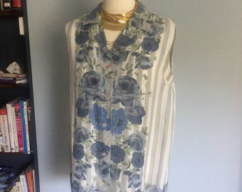 Vintage silk sleeveless shirt blue and grey and white flowers stripes