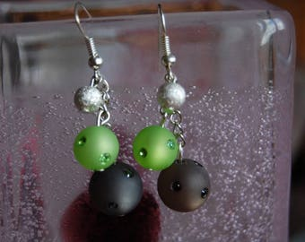 polaris earrings Green 8mm and 10mm anthracite