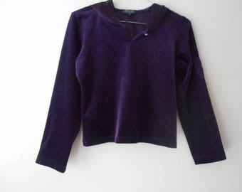 Velvet Purple Sheer Hooded Jumper/Crop