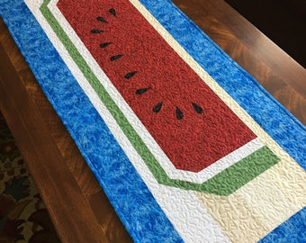 """Summer 'Watermelon' Quilted Table Runner 48"""" long X 18"""" wide, home decor, table runner"""
