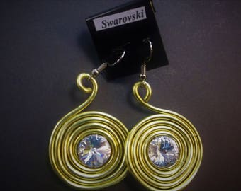 Swarovski aluminum wrap Earrings