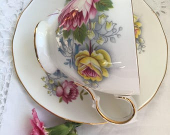 Very Pretty floral royal vale tea cup and saucer duo