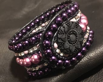Purple Flower Cuff