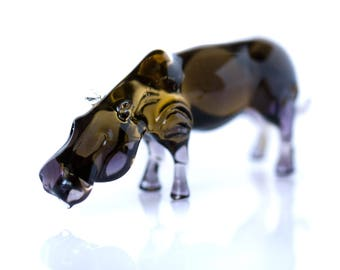 Miniature Hippo Art Glass Figurine African Animal Sculpture Christmas gift Idea Small Animal Hippopotamus