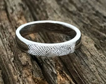 Fingerprint Band Ring - 4mm