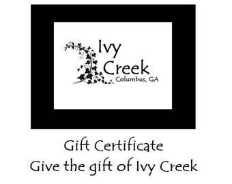 Ivy Creek Shop Gift Certificate, Gift Certificate, Etsy Gift Certificate, Etsy Gift Card, Ivy  Creek Gift Card, Gift Card, Gifts for Her