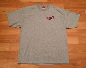 Large 90's Shane's Sporting Clays men's T shirt vintage Champion gray red black 1990's skeet shotgun target practice