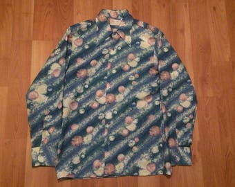 Medium 70's Kings Road Sears Mens Store vintage disco party shirt blue pink white 1970's collar