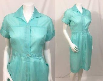 Back to School Sale 1950s Pennys Dacron Wash-n-Wear Dress, Vintage shirtwaist dress, Nurses Uniform