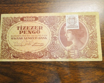 1945 Hungary 10000 Tizezer Note - Great Old Note W/ Stamp!  #630