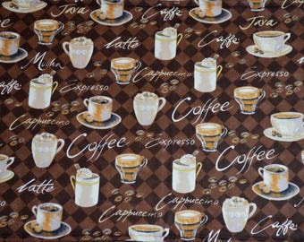 FREE SHIPPING - Coffee themed placemats , coffee placemats, table linens, cloth placemats, washable placemats