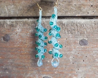 Crochet earrings, and lime green beads