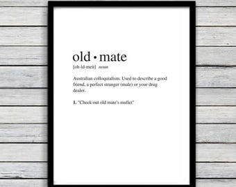 Old Mate | Art Print | Australian Humour | Funny Art | A4 Unframed - Free Shipping within Australia