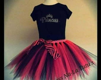 Rock Star Tutu - Pink and Black Tutu - Princess Outfit - Skirt and Matching Top - Top With Rhinestones - Princess Outfit - Rock Star Outfit