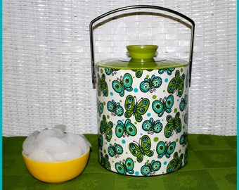 Retro Mod Butterfly Motif Vinyl Insulated Ice Bucket and Lid, Swing Handle, Barware, Party Supply, Vintage - 1970's