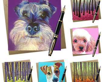 6 pack of assorted greeting cards | trees & dogs