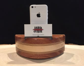 Acoustic speaker with business card holder Phone amplifier iPhone amplifier iPhone speaker Wooden speaker Charging station iPhone dock