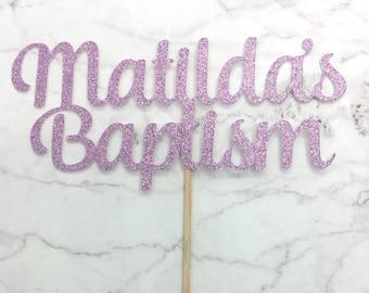 Baptism cake topper, glitter cake topper, christening cake topper, baptism decor