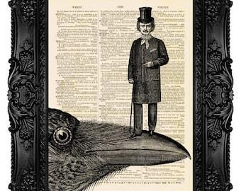 Edgar Allan Poe, Poe Art Print, Nevermore Raven, Edgar Poe Print Art, Antique Page Print, Dictionary Art, Wall Decor, Unique Gift, no.99