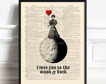 Woman on The Moon, Cute Boyfriend Gift, Unique Gift Poster, Luna Gift Print, Moon Balloon, Lesbian Couple Print, Love You To The Moon, 411