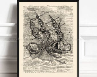 Giant Octopus Kraken, Book Lover Gift Art, Giant Squid Attack, Tentacles Wall Decor, Bathroom Art Poster, Father Gift Poster, Literary  217