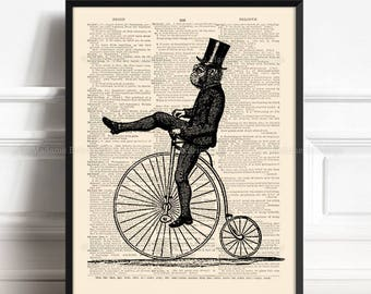 Monkey Bike, Cyclist Gift, Gorilla, Gift for Him to 10, Animal Bike Print, Coworker Xmas Gift, Nursery Print Monkey, Teen Boy Gift Print 242