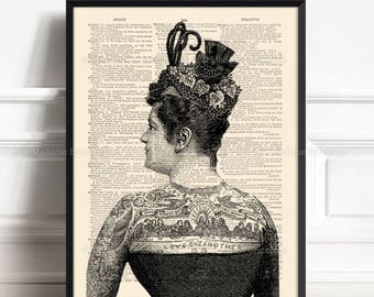Tattooed Woman, Wife Gift, Tattooist Gift, Tattoo Poster, Mens Gifts, Christmas Gifts, Tattoo Salon Print, Victorian Poster 041