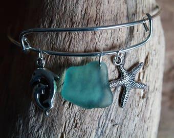 Seaglass Bracelet, Adjustable Bangle, Starfish Charm Bangle, Dolphin Bracelet, Sea Glass Jewelry, Nautical Jewelry, Beach Bracelet, Surfer