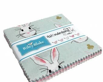 "Wonderland 2 5"" Stackers (42 15"" squares) by Melissa Mortensen from Riley Blake Designs 5-5770-42 rabbits quilting precut charm pack"