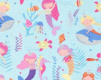 Sea Mermaids with Gold Metallic Accents cotton from Timeless Treasures CM6262-SEA quilting cotton by metre yard fantasy yardage