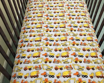 Gray yellow orange bulldozers and trucks crib/toddler sheet