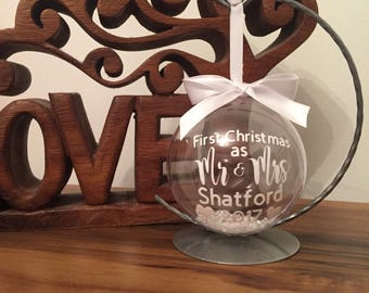 First christmas as Mr and Mrs personalised Christmas bauble, wedding gift