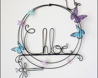 Plate name Chloe with blue and purple butterflies and flowers