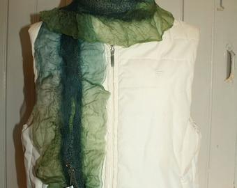 Nuno felt scarf the organza - 'piccola sirena'