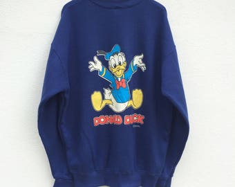 Vintage Donald Duck Sweatshirt / Navy Blue / Donald Duck T Shirt / Walt Disney / Mickey Mouse / American Cartoon