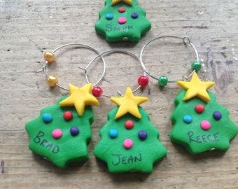 6 Christmas tree wine glass charms personalised Xmas handmade dinner party