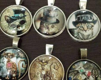 6 Steampunk cats  pentacle    glass cabochon pendants  destash  clearance #p9
