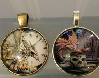2 dragon skull steampunk glass cabochon pendants  stash reduction clearance p90