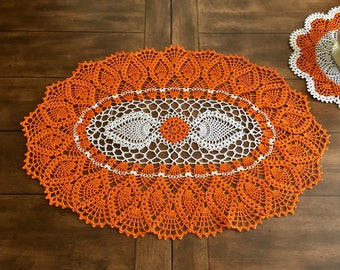 Fall Lace Doily - Pumpkin Table Doily - Pineapple Crochet Doily - Farmhouse Decor - Wedding Gift - Coffee Table Decor - Housewarming Gift