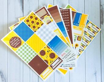 Sunflower Picnic - Weekly Planner Sticker Kit - Vertical