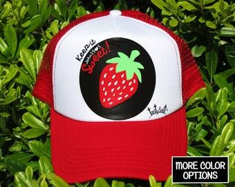 Keep it Sweet Summer Strawberry Trucker Hat / Christian hat, Christian apparel, women's hat, women's trucker hat, Christian trucker hat