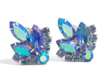 "Sarah Coventry ""Blue Lagoon"" Rhinestone Clip on Earrings Juliana Design Sarah Coventry Earrings Sarah Coventry Jewelry Blue Rhinestones"